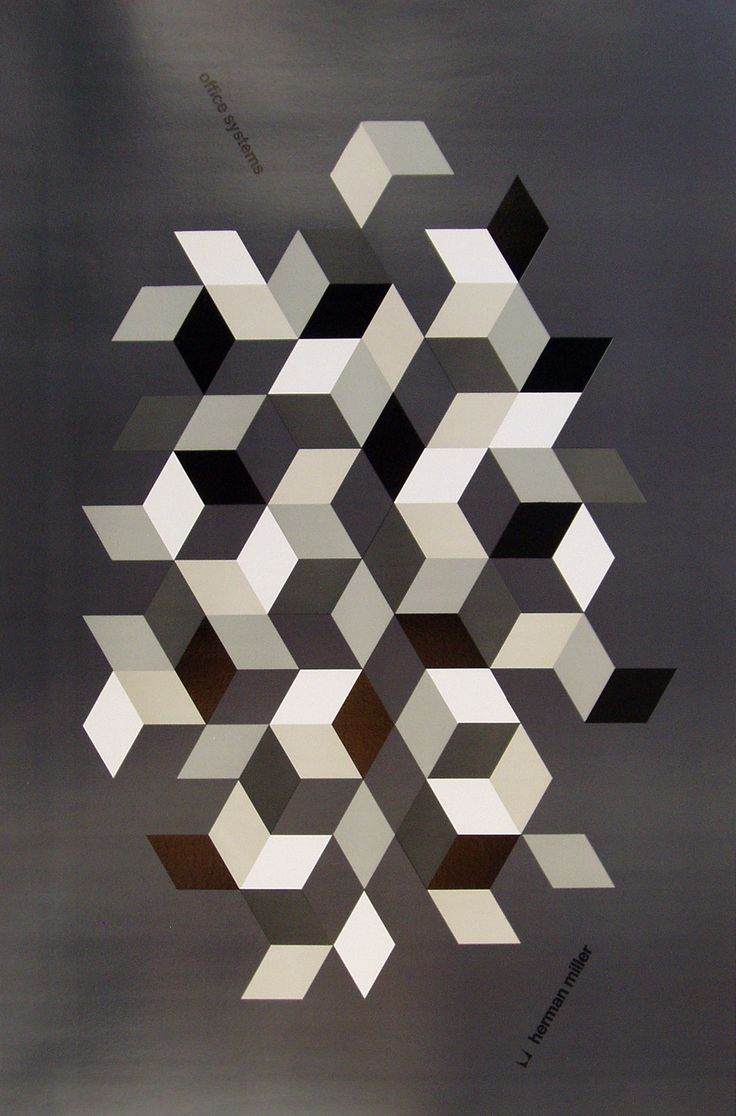 Original 1971 offset lithograph by Philip Mitchell for Herman Miller Office Systems. Linen backed. 45.5″ tall x 36″ wide