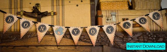 BON VOYAGE (Vintage Typewriter Key) Printable Party Banner and Decoration on Etsy, $5.00