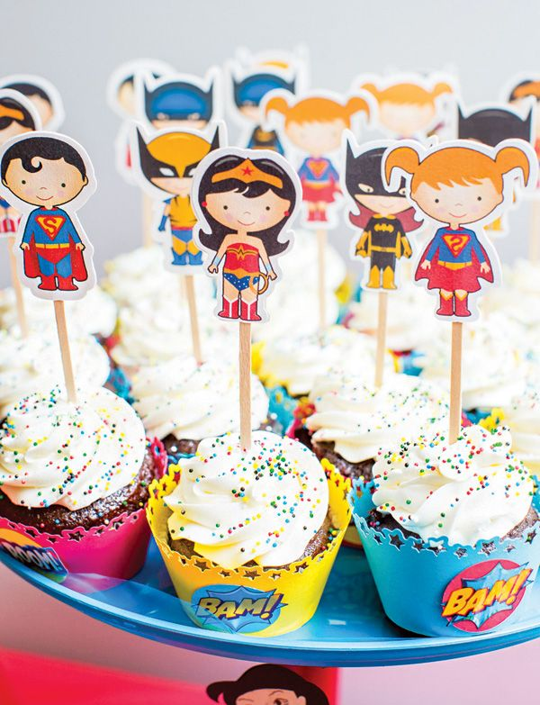 Super cute Super Hero cupcake toppers