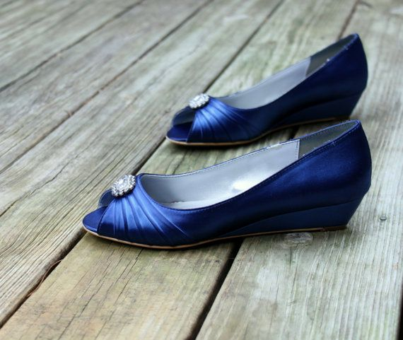 Blue Wedding Shoes Wedge 1 Heels By Thecrystalslipper