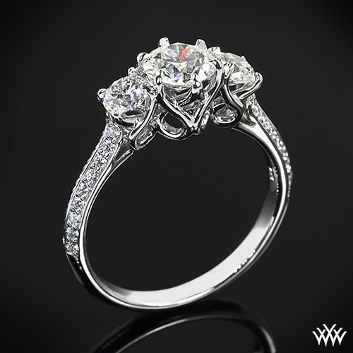 """This gorgeous 3 Stone """"Swan"""" Diamond Engagement Ring by Vatche is set in 18k white gold and holds two 0.25ct A CUT ABOVE® Hearts and Arrows Diamond Melee side stones that lead to a 0.755ct A CUT ABOVE® Diamond."""