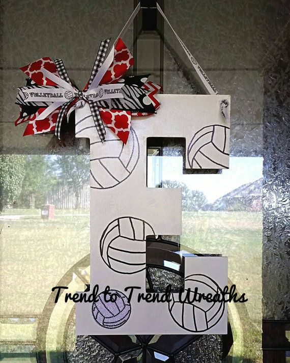 Wooden Volleyball Letter, Volleyball , Volleyball Decor, Volleyball Gift, Team Gift, Volleyball Door Hanger, Senior Gift  **THE BLINGY VOLLEYBALL AND BLINGY NUMBERS ONLY COMES ON THE 13 LETTERS DUE TO SIZE**  These hand painted 9.5 or 13 letters can be done with your players blingy number and team colors.  These are hand painted and made to order.  My turn around time is 1-2 weeks depending on how many orders I have that week. If you are needing this item quicker I also offer a rush my order…