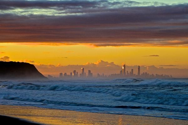 Palm Beach on Australia's Gold Coast, Looking across to Surfer's Paradise in the distance