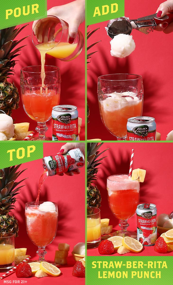 This lemon recipe drinks like fresh-squeezed juice, but packs a sweet punch like dessert.   Ingredients: 4-6 oz Straw-Ber-Rita 1 oz Pineapple Juice 2-3 Scoops Lemon Sherbet  Garnish:  Pineapple Wedge  Directions:  1) Pour 2 oz of Straw-Ber-Rita and pineapple juice into the glass. 2) Add lemon sherbet. 3) Top with the rest of the Straw-Ber-Rita. 4) Garnish with pineapple placed on the rim of the glass.