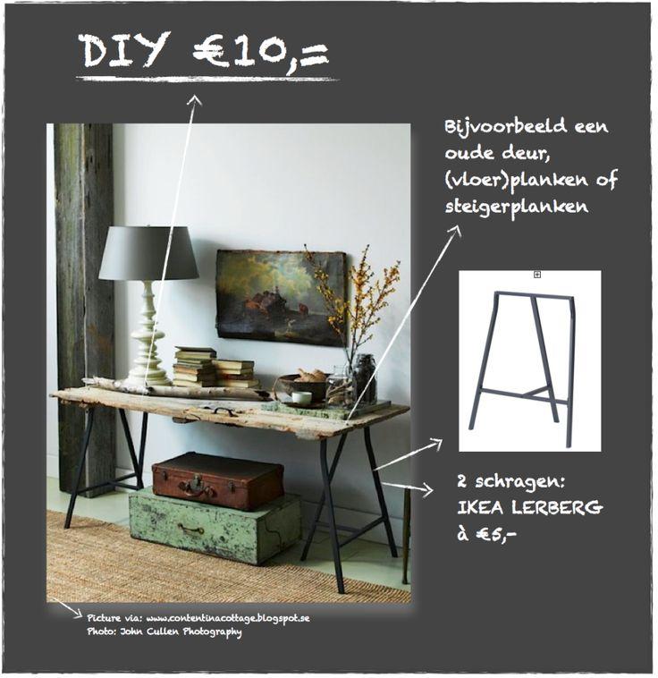 DIY SCHRAGENTAFEL € 10,00 - Esther Canisius | interieurontwerp
