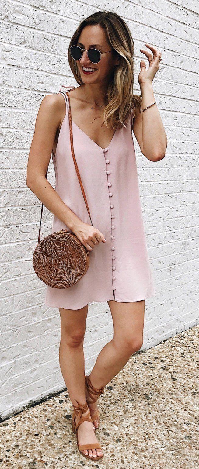 85197a24bf9 summer outfits Blush Silk Slip Dress + Brown Sandals + Brown Leather  Shoulder Bag