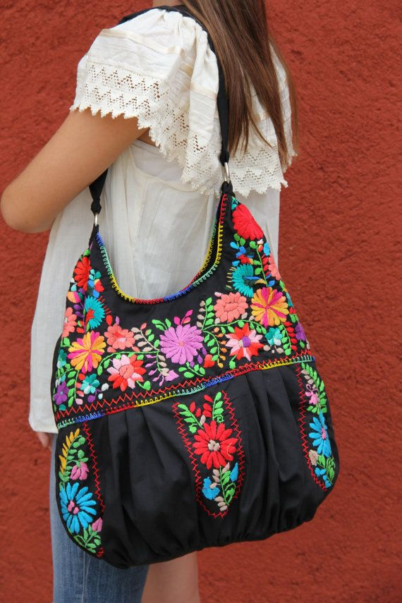 Black and multi colored hand embroidered Huipil boho bag by CasaOtomi