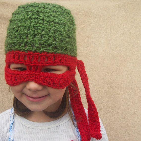 Teenage Mutant Ninja Turtle Hat, TMNT,  Children Costume Gift. $30.00, via Etsy.