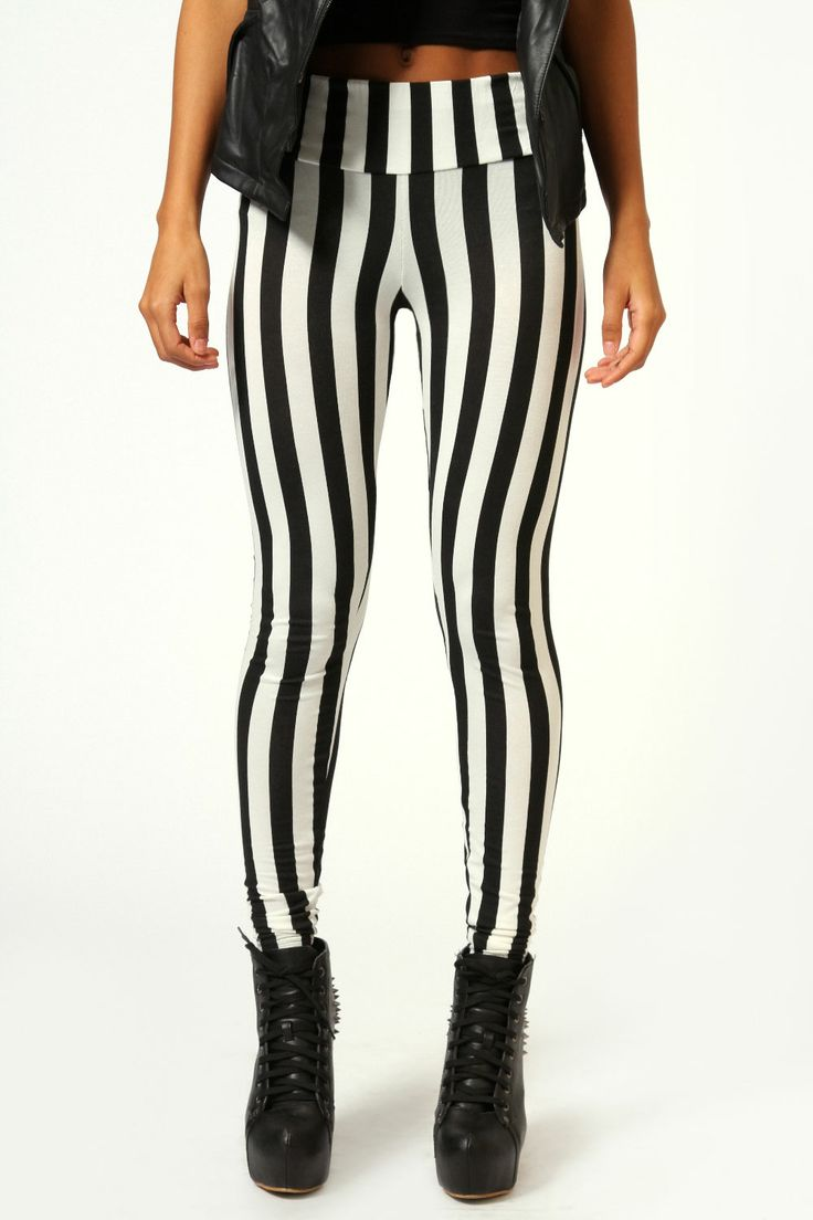 Boohoo Felicity Monochrome Stripe High Waist Leggings In Multi