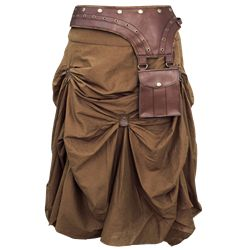 Brown Gathered Steampunk Skirt - VG-0001 by Medieval Collectibles