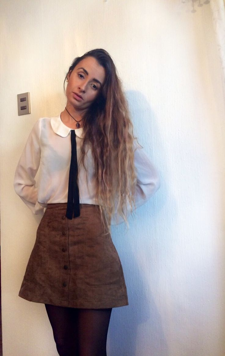 Suede skirt outfit Bow blouse Tie blouse School skirt