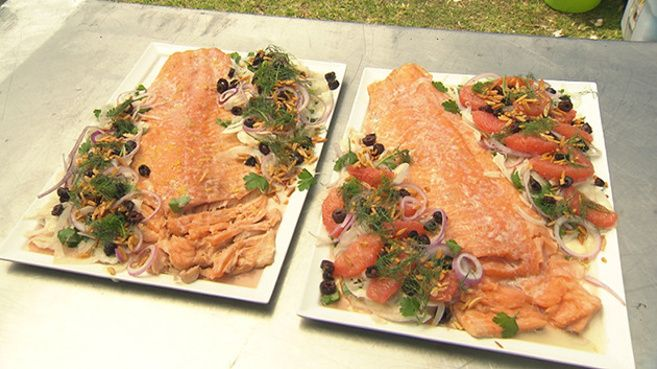 Baked Salmon with Ruby Grapefruit Salad