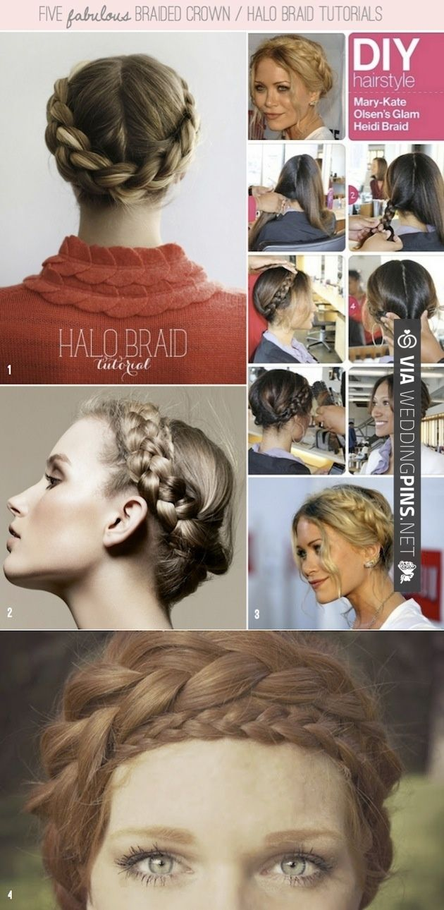 How To Halo Braid / Braided Crown DIY Tutorials ~ no. 5 is a FAB video tutorial. Click through to watch it. | CHECK OUT MORE IDEAS AT WEDDINGPINS.NET | #weddings #weddinginspiration #inspirational