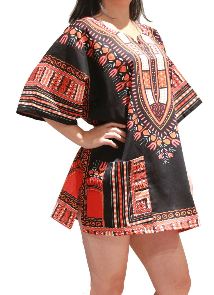 African Dashiki Shirt - Black & Red Orange - One Size Fit XS to XL