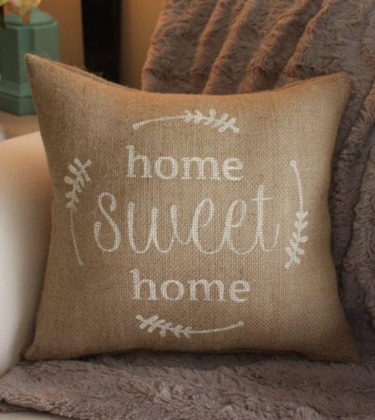 Home Sweet Home Burlap Pillow Brown Pinterest Burlap