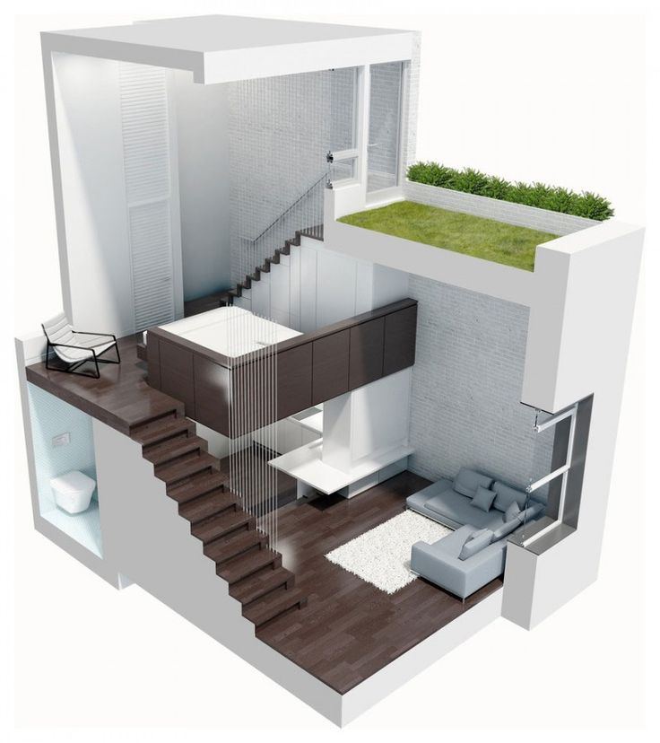 """Manhattan Micro-Loft was designed by Specht Harpman and it is located in Manhattan, New York. The interior is clean and modern and makes use of imaginative storage options to create more space. """"This tiny penthouse duplex apartment renovation in a brownstone building on the Upper West Side held a number of challenges to make it a livable space."""""""
