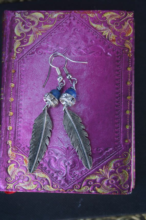 Feather jewelry feather earrings silver feather ooak