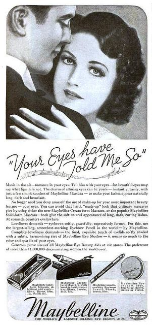 Maybelline ad from Radio Mirror, magazine, July 1937.