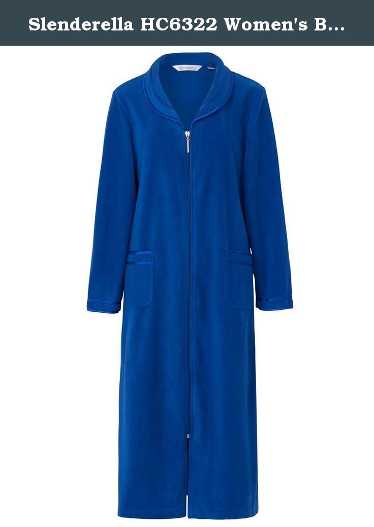 "Slenderella HC6322 Women's Blue Zip Up Dressing Gown House Coat Robe HC6322 2XL. Lovely blue zip up robe to keep you warm and cosy. Satin edging. 46"" in length. Buy now."
