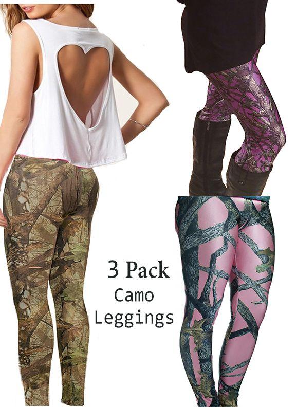 Southern Sisters Designs - 3 Pack Camo Leggings - Regular Camo, Pink