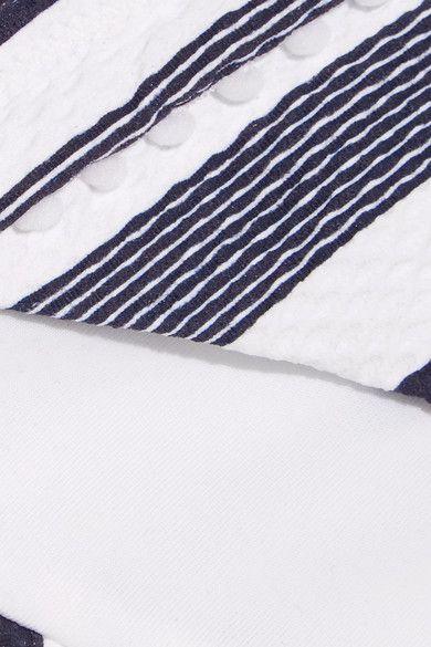 Heidi Klein - Martha's Vineyard Striped Stretch-cloqué Bikini Briefs - Navy - x large