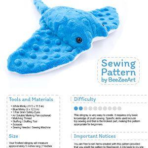 Stingray Plush Sewing Pattern, Stuffed Animal Plushie Plushie Pattern, Digital D…