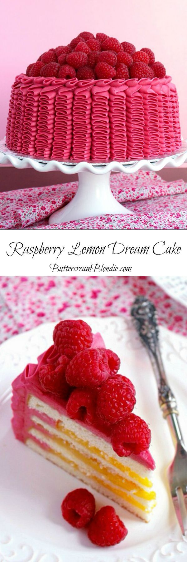Raspberry Lemon Ruffle Cake - light layers of #cake filled with bright lemon curd, and covered in the best raspberry buttercream! | http://ButtercreamBlondie.com
