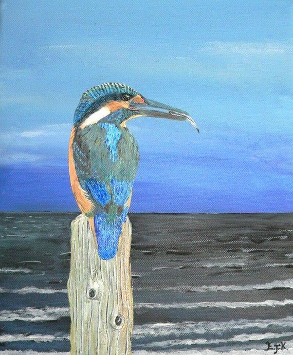 Fishing post Kingfisher of Eftalou. by ellenisworkshop on Etsy