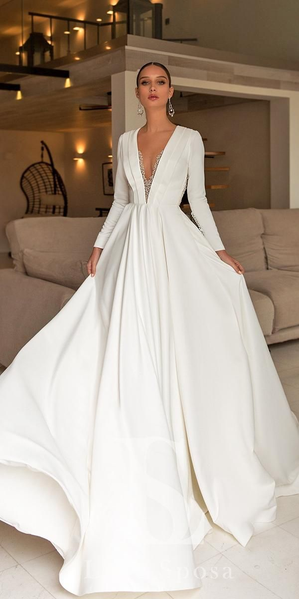 18 Of The Most Graceful Simple Wedding Dresses With Sleeves | Wedding Dresses Guide