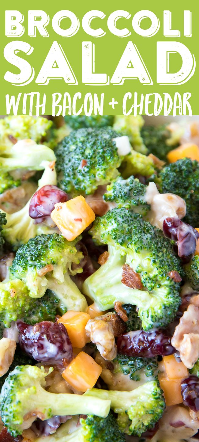 Broccoli Salad with Bacon and Cheddar Recipe | Best Broccoli Salad | Broccoli Salad with Dried Cranberries | Broccoli Salad with Walnuts | Easy Broccoli Salad