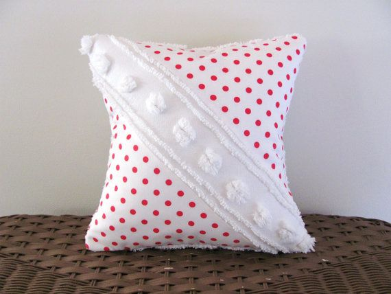 ♡ Red pillow cover DIAGONAL POPS 12 X 12 red by moreChenilleChateau