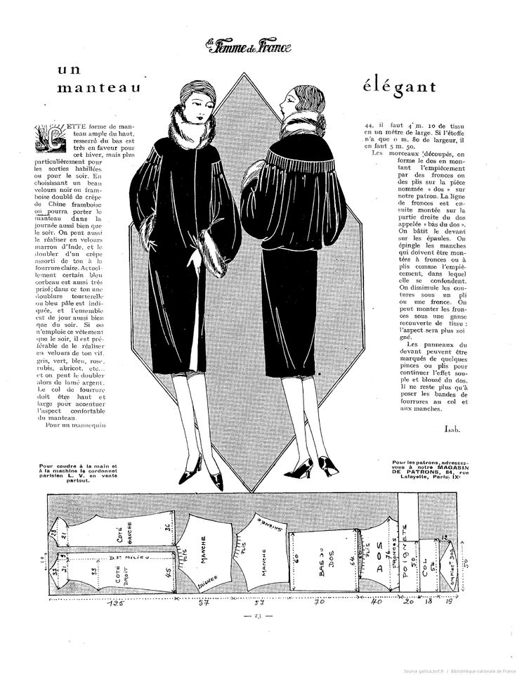 1927. Un manteau elegant. 1920s coat pattern. La Femme de France January 23, 1927. [http://gallica.bnf.fr/ark:/12148/bpt6k55194546/f24]
