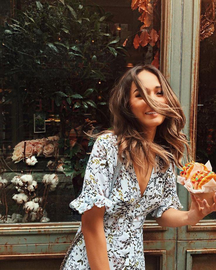travel | sweets | sundresses | medium brunette | highlights | patterned dresses | window shopping | candids