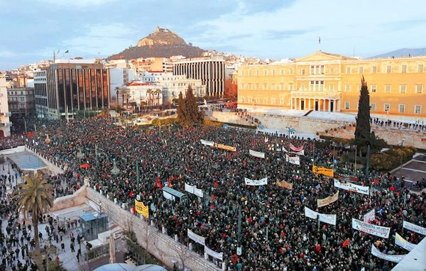 Big demonstration in Syntagma square Athens