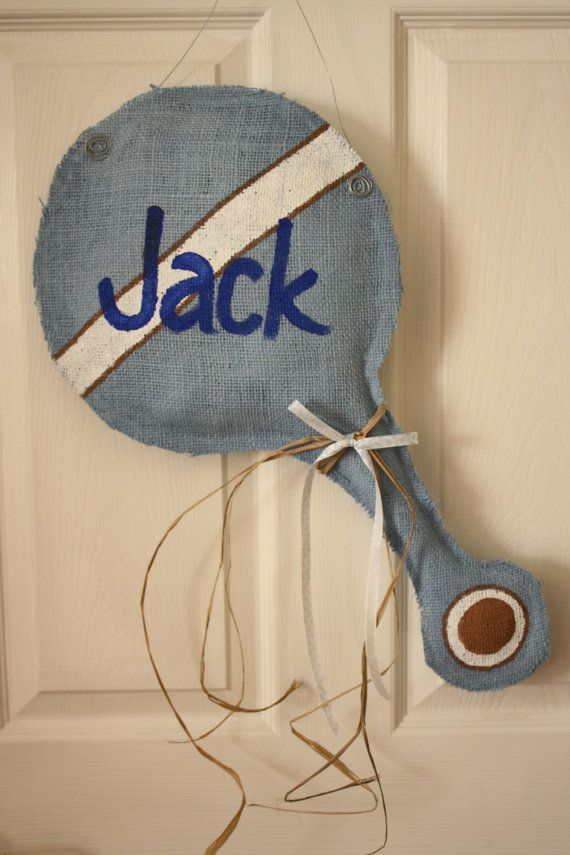 New Baby Burlap Baby Rattle Door Hanger by J2StitchesandDesign, $30.00