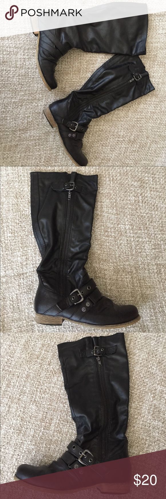 Black Carlos Santana boots Fall just below the knee. True to size. Flexible with price. Carlos Santana Shoes Winter & Rain Boots