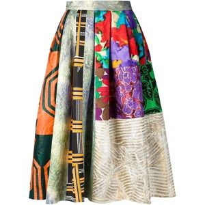 Duro Olowu Pleated Patchwork Skirt ~African fashion, Ankara, kitenge, African women dresses, African prints, Braids, Nigerian wedding, Ghanaian fashion, African wedding ~DKK