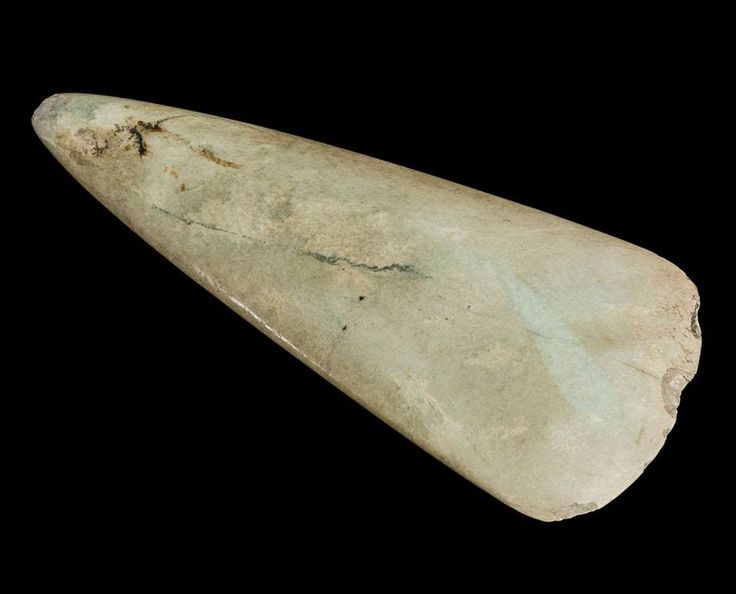 CEREMONIAL AXE (Neolithic) | Cornwall: 'Pale green ceremonial jadeite axe of Breton type, found in Falmouth.' (pic. + text Royal Cornwall Museum)     ✫ღ⊰n
