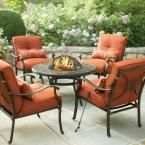 Martha Stewart Living Cold Spring 5-Piece Patio Fire Pit Set with Red Cushions AC-SET-1149-5 at The Home Depot - Mobile