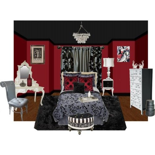 this red black bedroom is just so scrumptious