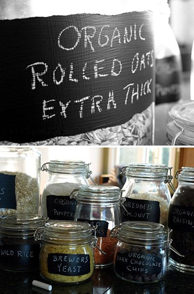 diy chalkboard labels on jars - great idea especially when you know how easy it is to make chalkboard paint. I think I'm gonna try this in different colours!