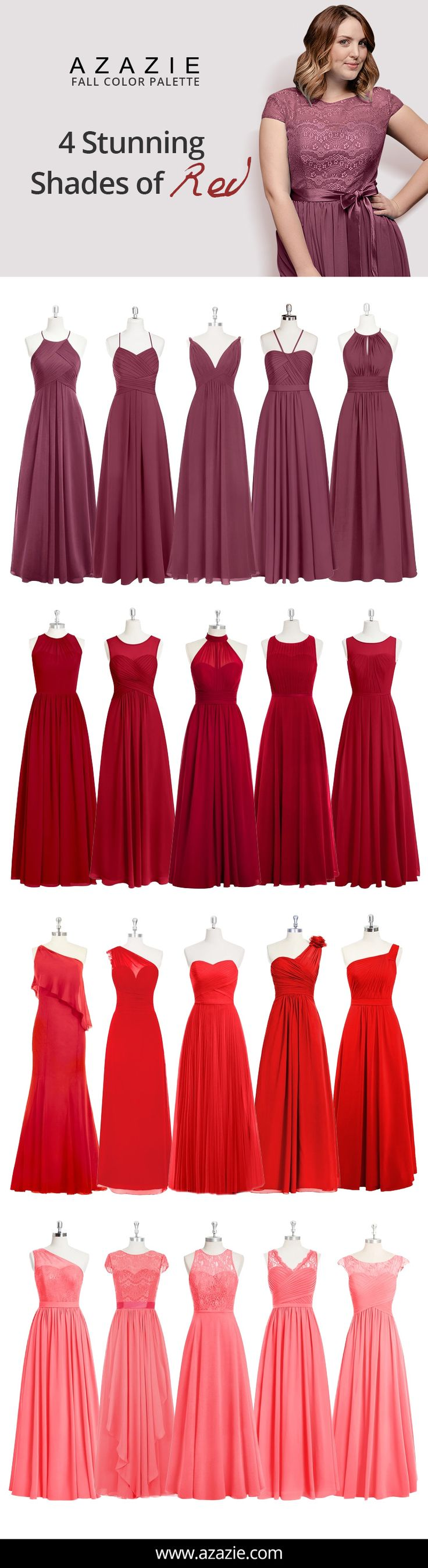 Attention Autumn brides! MULBERRY, BURGUNDY, RED, WATERMELON are quite the popular shades for any Autumn themed wedding. Into the latest trends? Mix-and-match these classy shades of red by having your bridesmaids choose from 150+ of our dresses. Shopping for the perfect bridesmaid dress has never been more affordable either- all dresses are $150 or less! More