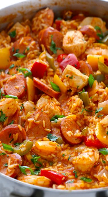 Jambalaya- it turned out delicious, next time I will just cut the recipe in half. ( and a little less spice for Chris')