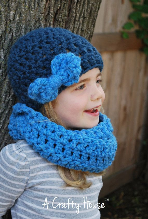 Crochet Hat  Cowl Set The Willow  The Shorewood by acraftyhouse, $45.00