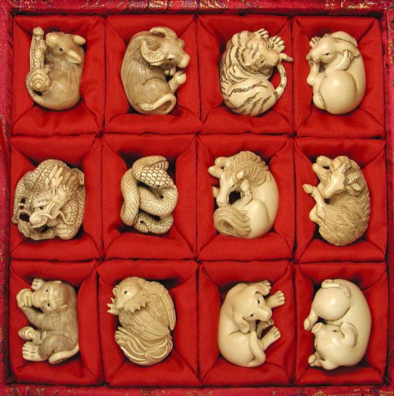 12 Netsuke in Mamouth Ivory depicting the 12 animals of the Zodiac. This is the year of the Horse- 2014 from 31/01/2014