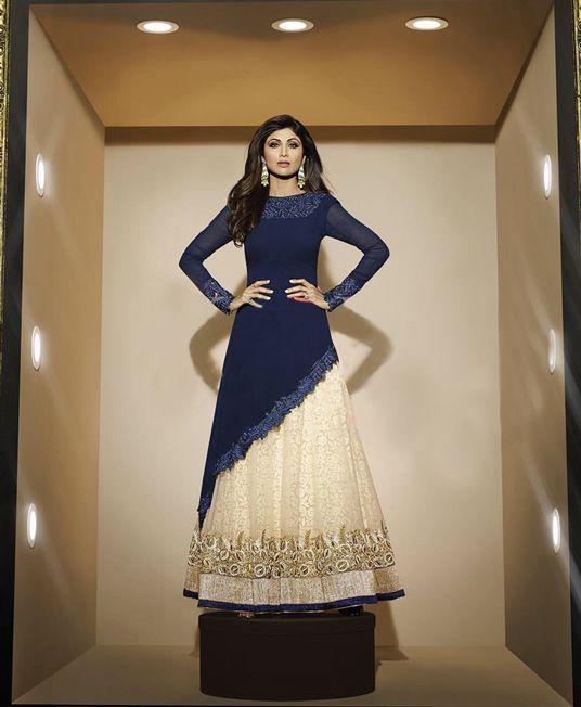 Shilpa Shetty Beige Net Indo Western Lehenga Choli 65844