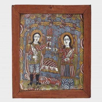 Icoană pe sticlă Sfinţii Arhangheli Mihail şi Gavriil, atribuită Ana Deji, Recea Brașov, al doilea sfert al sec .XX