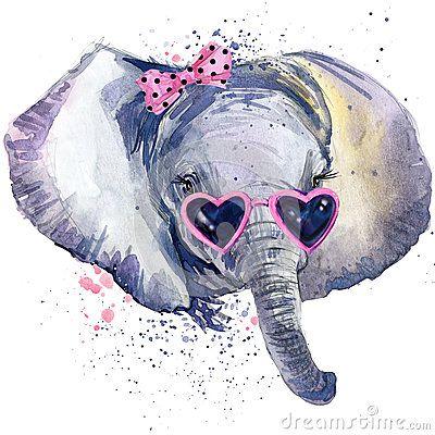 baby elephant T-shirt graphics. baby elephant illustration with splash…