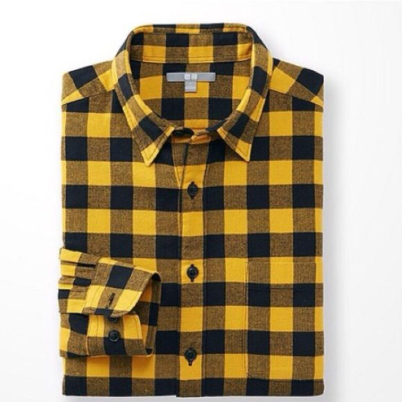 UNIQLO Men's Flannel Check Long Sleeve Shirt NWOT. UNIQLO Men's Flannel Check Long Sleeve Shirt in Yellow. Details in last image. 100% cotton. Men's Size Medium. New. Never worn. No trades. UNIQLO Tops Button Down Shirts