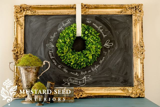Simple, pretty...: Farms Houses, Decor Ideas, Decor Stealing, Chalkboards Paintings, My Heart, Chalk Boards, Home Decor, Miss Mustard Seeds, Boxwood Wreaths